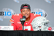 Indianapolis, IN - DEC 1, 2018: Ohio State Buckeyes quarterback Dwayne Haskins (7) talks with the media after defeating the Northwestern Wildcats 45-24 in the Big Ten Championship game at Lucas Oil Stadium in Indianapolis, IN. Haskins threw for 499 yards and 5 touchdowns setting a new Big Ten Championship record. (Photo by Phillip Peters/Media Images International)