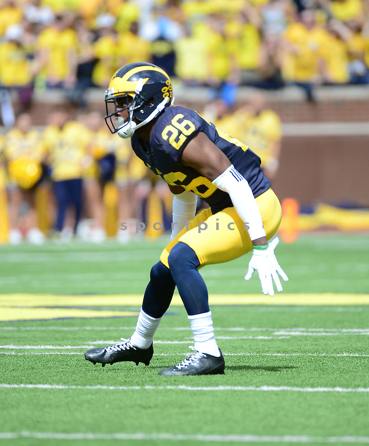 Michigan Wolverines Jourdan Lewis (26) during a game against the UNLV Rebels on September 19, 2015 at Michigan Stadium in Ann Arbor, MI. Michigan beat UNLV 28-7.