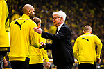 11.05.2019, Signal Iduna Park, Dortmund, GER, 1.FBL, Borussia Dortmund vs Fortuna Düsseldorf, DFL REGULATIONS PROHIBIT ANY USE OF PHOTOGRAPHS AS IMAGE SEQUENCES AND/OR QUASI-VIDEO<br /> <br /> im Bild | picture shows:<br /> Reinhard Rauball (Praesident BVB) begruesst Oemer Toprak (Borussia Dortmund #36) und die Spieler, <br /> <br /> Foto © nordphoto / Rauch