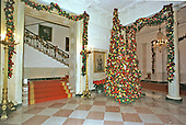 Washington, DC - December 4, 2000 -- The Grand Foyer is trimmed with eight cone-shaped trees fashioned by designer Robert Isabell.  The trees are decorated with fruit, hydrangea and rich burgundy ribbons to create a warm and elegant look for this welcoming foyer.  This view looks left as one enters from the North Portico.  The Grand Staircase is at left.  This tree stands near the portrait of President John F. Kennedy..Credit: Ron Sachs - CNP