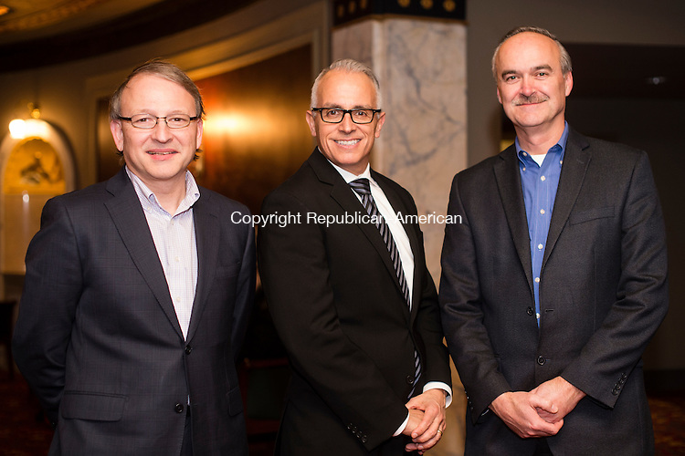 WATERBURY, CT- 23 February 2016-022316EC09-   Social Moments. From L to R: Norbert Mongeon, Jr. Vice President of Professional Facilities Management, Frank Tavera, Chief Executive Officer of Waterbury's Palace Theater and Douglas Johnson with Marion Manufacturing. The Palace Theater announced the 2016-2017 Broadway lineup February 23rd. Erin Covey Republican-American