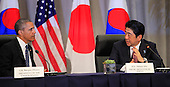 United States President Barack Obama attends a trilateral meeting with Prime Minister Shinzo Abe of Japan at the Nuclear Security Summit in Washington, DC on March 31, 2016. <br /> Credit: Dennis Brack / Pool via CNP