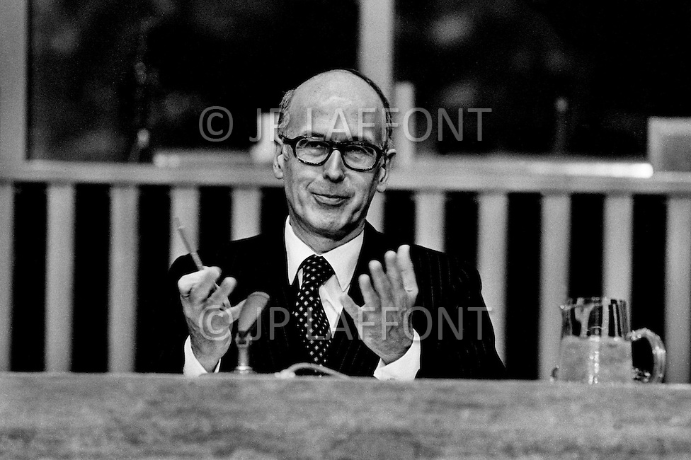 New York, New York, USA. May 25, 1978: Giscard D'Estaing at the UN giving an important speech about disarmerment at the General Assembly. He underlined the right of every state to security and called for general participation in an effort towards disarmerment.
