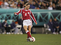 06 November,  2004. Denmark's Louise Hansen (6) looks to pass the ball  at  Lincoln Financial Field in Philadelphia, Pa.