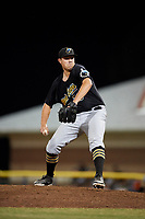 West Virginia Black Bears relief pitcher John Pomeroy (35) delivers a pitch during a game against the Batavia Muckdogs on July 3, 2018 at Dwyer Stadium in Batavia, New York.  Batavia defeated West Virginia 5-4.  (Mike Janes/Four Seam Images)