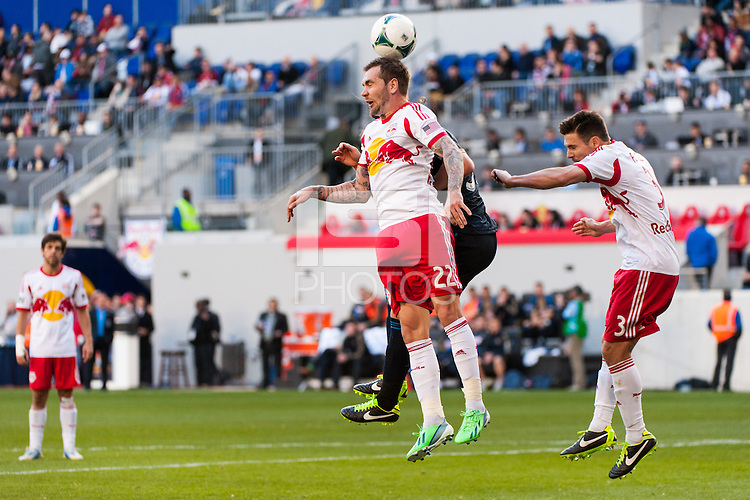 Jonny Steele (22) of the New York Red Bulls goes up for a header. The New York Red Bulls defeated the Philadelphia Union 2-1 during a Major League Soccer (MLS) match at Red Bull Arena in Harrison, NJ, on March 30, 2013.