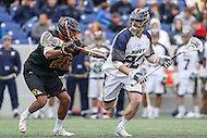 Annapolis, MD - February 11, 2017: Navy Midshipmen Colin Flounlacker (22) in action during game between Maryland vs Navy at  Navy-Marine Corps Memorial Stadium in Annapolis, MD.   (Photo by Elliott Brown/Media Images International)