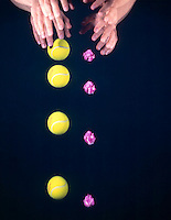 FALLING BALL &amp; CRUMPLED PAPER -stroboscopic<br /> Newton's Second Law of Motion<br /> After the sheet of paper is wadded up the ball and paper fall almost together.  The air resistance is almost equal on both objects. Exposure was made for 1/2 second, 10 flashes per second of a 3&quot; tennis ball.