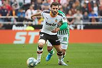 29th February 2020; Mestalla, Valencia, Spain; La Liga Football,Valencia versus Real Betis; Jose Gaya of Valencia CF goes past Nail Fekir of Real Betis