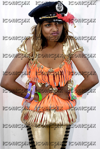 M.I.A. (born Mathangi Arulpragasam) - portraits backstage at Get Loaded In The Park on Clapham Common in London UK - 26 Aug 2007.  Photo credit: George Chin/IconicPix