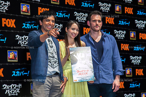 "(L to R) Director M. Night Shyamalan, actress Ellie Toyota and the Actor Matt Dillon pose for the cameras during the talk show of the mystery drama ""Wayward Pines"" at the United Cinemas in Toyosu area on May 21, 2015, Tokyo, Japan. Dillon and Shyamalan are in Japan to promote simultaneous worldwide launch of the mystery drama through the FOX channel. Wayward Pines is an American television series based on the novel Pines by Blake Crouch. (Photo by Rodrigo Reyes Marin/AFLO)"