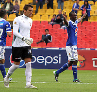 BOGOTA - COLOMBIA- 05 -05-2013: Erick Moreno  jugador de Millonarios  celebra su gol  contra    Patriotas de Boyacá  partido en el estadio El Campín de la ciudad de Bogotá, mayo 5  de 2013. partido por la  fecha catorce  de la Liga Postobon I. (Foto: VizzorImage / Felipe Caicedo / Staff).  Erick Moreno  Millonarios player celebrates his goal against Boyacá Patriots game at El Campin in Bogota, May 5, 2013. fourteen date match the I League Europa League. .  (Foto: VizzorImage / Felipe Caicedo / Staff).BOGOTA - COLOMBIA- 05 -05-2013: XXXXXXX  jugador de Millonarios  disputa el balón contra   XXXXXXX   de Patriotas de Boyacá  partido en el estadio El Campín de la ciudad de Bogotá, mayo 5  de 2013. partido por la  fecha catorce  de la Liga Postobon I. (Foto: VizzorImage / Felipe Caicedo / Staff).  XXXXXXX Millonarios player fights for the ball against Boyacá XXXXXXX Patriots game at El Campin in Bogota, May 5, 2013. fourteen date match the I League Europa League. .  (Foto: VizzorImage / Felipe Caicedo / Staff).