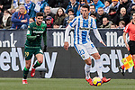 CD Leganes's Mikel Vesga and Real Betis Balompie's Antonio Barragan during La Liga match between CD Leganes and Real Betis Balompie at Butarque Stadium in Madrid, Spain. February 10, 2019. (ALTERPHOTOS/A. Perez Meca)