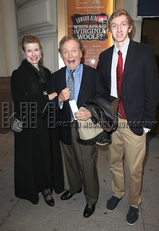 Dick Cavett; Martha Rogers and guest attending the Opening Night Performance of Edward Albee's 'Who's Afraid of Virginia Woolf?' at the Booth Theatre on October 13, 2012 in New York City.