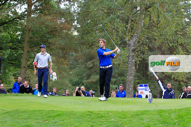 Bradley Burns (SCO) on the 18th tee during Day 2 Singles for the Junior Ryder Cup 2014 at Blairgowrie Golf Club on Tuesday 23rd September 2014.<br /> Picture:  Thos Caffrey / www.golffile.ie