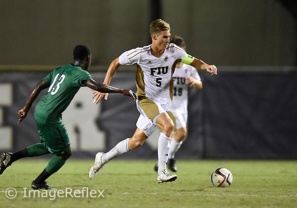 Florida International University men's soccer defender Marvin Hezel (5) plays against Marshall University. FIU won the match 5-1 on September 26, 2015 at Miami, Florida.
