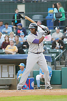 Winston-Salem Dash infielder Keon Barnum (20) at bat during a game against the Myrtle Beach Pelicans at Ticketreturn.com Field at Pelicans Ballpark on April 23, 2015 in Myrtle Beach, South Carolina.  Myrtle Beach defeated Winston-Salem  6-0. (Robert Gurganus/Four Seam Images)