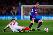 30th January 2019, Camp Nou, Barcelona, Spain; Copa del Rey football, quarter final, second leg, Barcelona versus Sevilla; Arthur Melo of FC Barcelona beats the tackle from Andre Silva of Sevilla CF