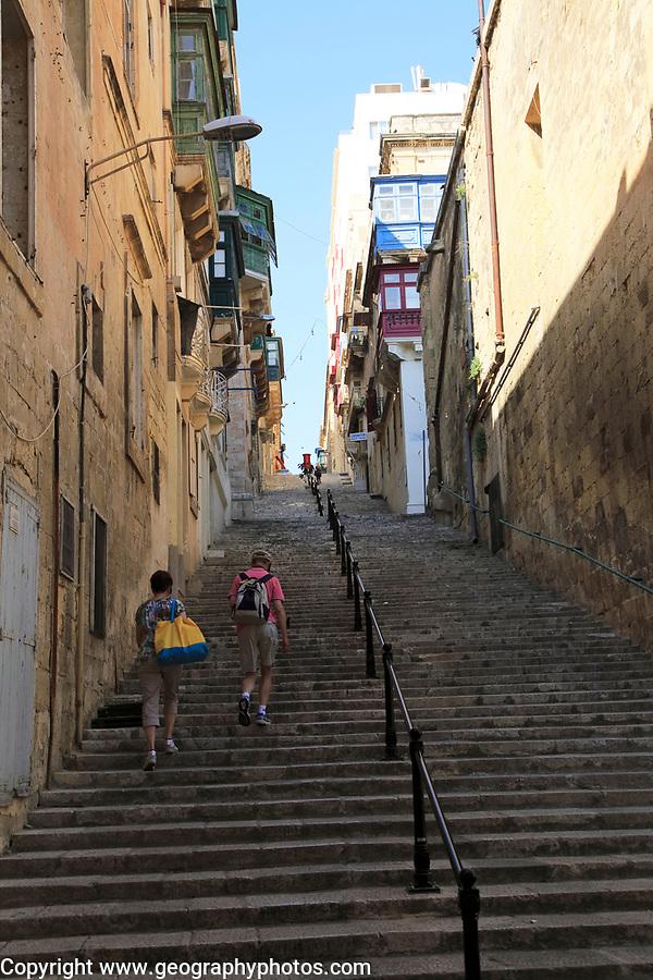 Steep historic street in city centre of Valletta, Malta