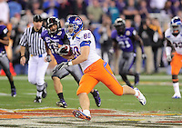 Jan. 4, 2010; Glendale, AZ, USA; Boise State Broncos tight end (80) Kyle Efaw against the TCU Horned Frogs in the 2010 Fiesta Bowl at University of Phoenix Stadium. Boise State defeated TCU 17-10. Mandatory Credit: Mark J. Rebilas-
