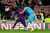 5th November 2019; Camp Nou, Barcelona, Catalonia, Spain; UEFA Champions League Football, Barcelona versus Slavia Prague;  Dembele of Barca is challenged by Boril of Prague - Editorial Use