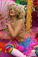 LA Pride 2011 Participant, Rainbow Color,  Dress, Blonde Hair, Pink Umbrella