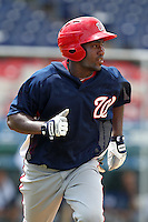 Washington Nationals outfielder Brian Goodwin #13 during an Instructional League game against the national team from Italy at Holman Stadium on September 29, 2011 in Vero Beach, Florida.  (Mike Janes/Four Seam Images)
