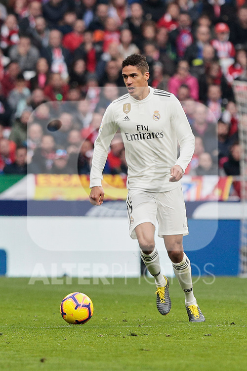 Real Madrid's Karim Benzema (L) and Raphael Varane (R) during La Liga match between Atletico de Madrid and Real Madrid at Wanda Metropolitano Stadium in Madrid, Spain. February 09, 2019. (ALTERPHOTOS/A. Perez Meca)