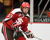 Riley Austin (St. Lawrence - 23) - The Harvard University Crimson defeated the St. Lawrence University Saints 4-3 on senior night Saturday, February 26, 2011, at Bright Hockey Center in Cambridge, Massachusetts.