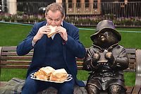 "Hugh Bonneville unveils a Paddington statue at the launch of ""Scenes in the Square"" statue trail in Leicester Square, London.<br /> <br /> ©Ash Knotek  D3558 27/02/2020"