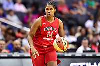 Washington, DC - August 12, 2018: Washington Mystics guard Tierra Ruffin-Pratt (14) brings the ball up court during game between the Washington Mystics and the Dallas Wings at the Capital One Arena in Washington, DC. (Photo by Phil Peters/Media Images International)