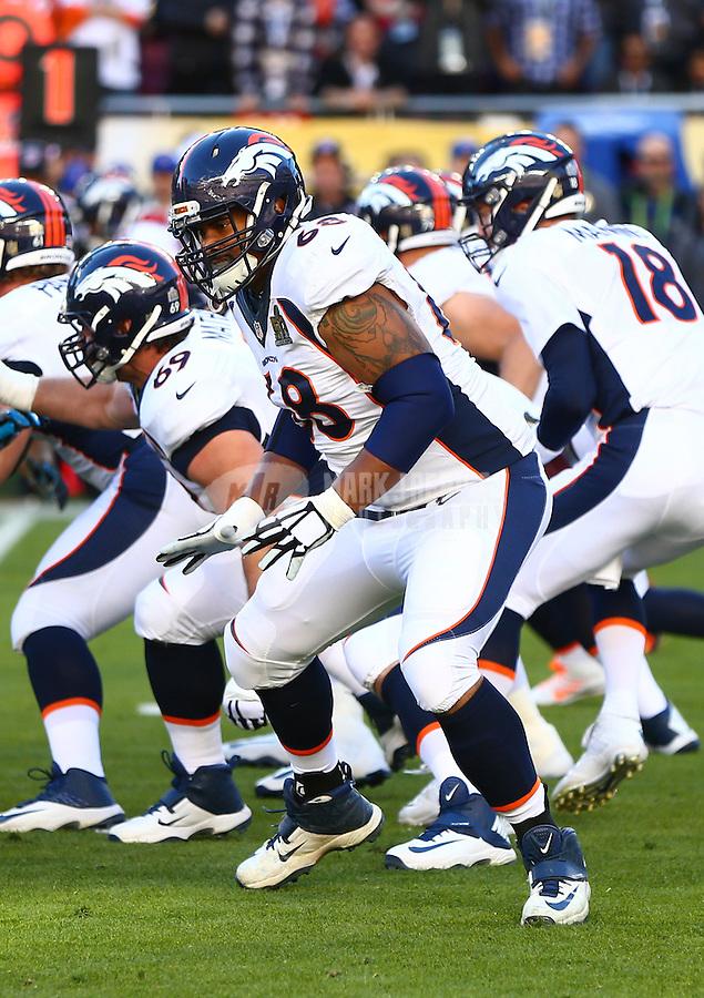 Feb 7, 2016; Santa Clara, CA, USA; Denver Broncos offensive tackle Ryan Harris (68) against the Carolina Panthers in Super Bowl 50 at Levi's Stadium. Mandatory Credit: Mark J. Rebilas-USA TODAY Sports