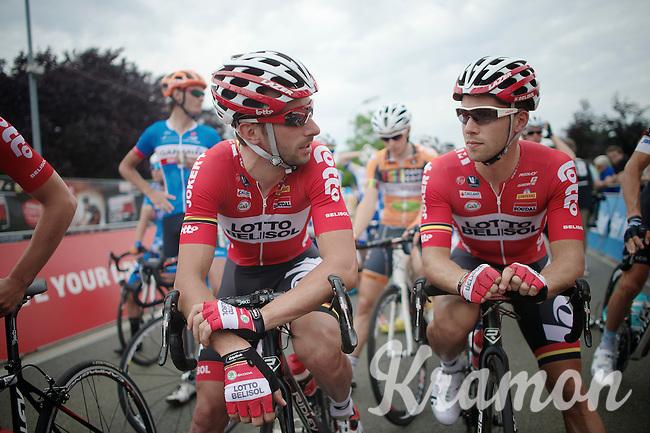 Kenny Dehaes (BEL/Lotto-Belisol) & Jonas Van Genechten (BEL/Lotto-Belisol) at the start. 4 hrs later they would both be on the podium next to Tom Boonen (BEL/OPQS)<br /> <br /> Heistse Pijl 2014