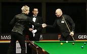 1st February 2019, Berlin, Germany; Snooker Berlin German Masters in Tempodrom;  Neil Robertson shakes hands with Stuart Bingham