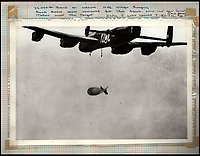 BNPS.co.uk (01202 558833)<br /> Pic: IAA/BNPS<br /> <br /> Sumpters scrapbook contains this amazing photograph of a 22,000lb (10 ton) Grand Slam bomb being dropped over a target. These were the largest non-nuclear weapons used during the war.<br /> <br /> A fascinating and historic logbook and photographs from a Dambuster's hero who also went on many other famous raids during WW2 has come light. <br /> <br /> The remarkable collection belonged to Flight Sergeant Leonard Sumpter who was a bomb aimer on the iconic Dam's mission, and put together a unique scrapbook of his thrilling wartime career in Bomber Command's most famous squadron.<br /> <br /> As well as the bouncing bomb sortie, the ace bomb aimer also dropped Barnes Wallis's later invention's of massive Tallboy and Grand Slam 'bunker busting' bombs, the largest non nuclear warheads of the war.<br /> <br /> Only the elite 617 squadron were entrusted with delivering these hugely valuable weapons onto their vital targets, that included U-boat pens, V2 rocket sites and even Hitler's Bavarian hideaway the Eagles Nest.<br /> <br /> Also included are pictures Mr Sumpter took in 1947 during a summer excusion to visit some of the sites he had attacked during the conflict.<br /> <br /> Flt Sgt Sumpter's daughter has decided to put the photo album up for auction together with his logbook and his personal scrapbook.
