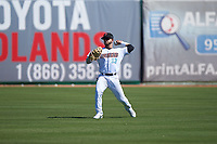 Inland Empire 66ers center fielder Orlando Martinez (13) during a California League game against the Modesto Nuts on April 10, 2019 at San Manuel Stadium in San Bernardino, California. Inland Empire defeated Modesto 5-4 in 13 innings. (Zachary Lucy/Four Seam Images)