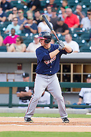 Todd Cunningham (20) of the Gwinnett Braves at bat against the Charlotte Knights at BB&T Ballpark on August 6, 2014 in Charlotte, North Carolina.  The Knights defeated the Braves  12-10.  (Brian Westerholt/Four Seam Images)