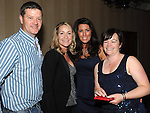 Kevin Moore, Susan McQuail, Aideen Sharkey and Aileen McCormack pictured at the St Olivers Community College Class of '92 reunion in the Westcourt hotel. Photo:Colin Bell/pressphotos.ie