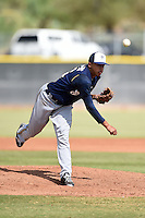 Milwaukee Brewers pitcher Devin Williams (56) during an Instructional League game against the Los Angeles Angels of Anaheim on October 9, 2014 at Tempe Diablo Stadium Complex in Tempe, Arizona.  (Mike Janes/Four Seam Images)