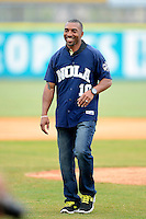 New Orleans Zephyrs guest, New Orleans Saints team ambassador and former wide receiver Michael Lewis, after throwing out the first pitch before a game against the Round Rock Express on April 15, 2013 at Zephyr Field in New Orleans, Louisiana.  New Orleans defeated Round Rock 3-2.  (Mike Janes/Four Seam Images)