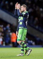 Gylfi Sigurdsson of Swansea City applauds the fans at the end of the Barclays Premier League match between West Bromwich Albion and Swansea City at The Hawthorns on the 2nd of February 2016