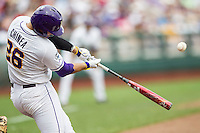 LSU Tigers first baseman Chris Chinea (26) swings the bat against the TCU Horned Frogs in the NCAA College World Series on June 14, 2015 at TD Ameritrade Park in Omaha, Nebraska. TCU defeated LSU 10-3. (Andrew Woolley/Four Seam Images)