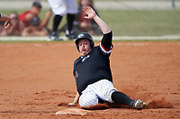 Edgewood College Eagles Nick Lehner (36) slides into second base during the second game of a doubleheader against Western Connecticut Colonials on March 13, 2017 at the Lee County Player Development Complex in Fort Myers, Florida.  Edgewood defeated Western Connecticut 2-1.  (Mike Janes/Four Seam Images)