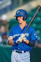 Dillon Paulson (14) of the Ogden Raptors during a game against the Great Falls Voyagers at Lindquist Field on August 21, 2018 in Ogden, Utah. Great Falls defeated Ogden 14-5. (Stephen Smith/Four Seam Images)