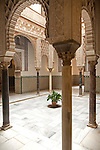 Palace of Pedro First, historic moorish palace interior architecture in the Alcazar, Seville, Spain