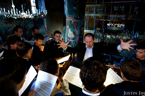 The world-famous Srentenski Monastery Choir performs, led by conductor Nikon Zhila, at Moscow's Srentenski Monastery.