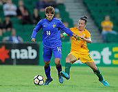 26th March 2018, nib Stadium, Perth, Australia; Womens International football friendly, Australia Women versus Thailand Women; Lisa De Vanna of the Matildas tackles Saowaluk Pengngam of Thailand during the second half