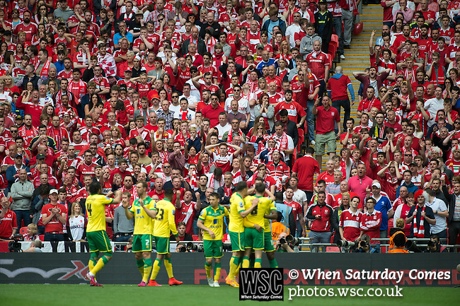 Norwich City 2 Middlesbrough 0, 25/05/2015. Wembley Stadium, Championship Play Off Final. Norwich players celebrate the opening goal from Cameron Jerome in the 12th minute. A match worth £120m to the victors. On the day Norwich City secured an instant return to the Premier League with victory over Middlesbrough in front of 85,656. Photo by Simon Gill.