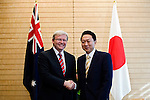 Australian Prime Minister Kevin Rudd and his Japanese counterpart Yukio Hatoyama shake hands prior to talks  in Tokyo, Japan on Tuesday Dec. 15 2009..Photographer: Robert Gilhooly