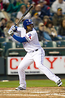 Round Rock Express outfielder Joey Butler #16 at bat against the Omaha Storm Chasers in the Pacific Coast League baseball game on April 4, 2013 at the Dell Diamond in Round Rock, Texas. Round Rock defeated Omaha in their season opener 3-1. (Andrew Woolley/Four Seam Images).